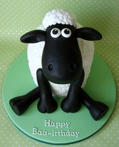 "Happy ""Baa-irthday"" ~ a Shaun the Sheep cake created by Rubytea Cakes in Derry, Northern Ireland. Their flickr photostream shows the work of self-taught Master Baker Caroline, whose sugar work is so detailed and precise."
