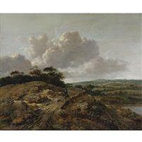 Horseman with a dog in a landscape par Jan Wijnants