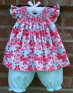 Cute, cute angel sleeve bishop set from Sweet Tea Smocking
