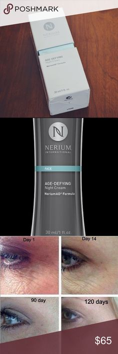 Nerium Age Defying Night Cream (FULL SIZE) An Anti Aging breakthrough! Clinically proven to reduce up to 43% of Deep lines in as little as 30 days! Used for: Fine Lines and Wrinkles Hyperpigmentation Uneven Skin Texture Enlarged Pores Aging or Sun-Damaged Skin General appearance of skin. nerium international Other