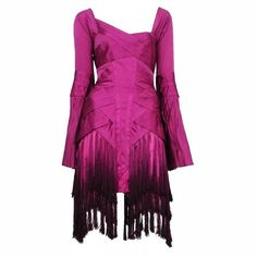 Preowned Gucci Fuchsia Tassel Dress (209,475 DOP) ❤ liked on Polyvore featuring dresses, brown, cocktail dresses, long sleeve purple dress, tiered dresses, long sleeve silk dress, purple vintage dress and brown cocktail dress