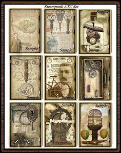 Altered Junque Art STEAMPUNK ATC Set  Digital Collages