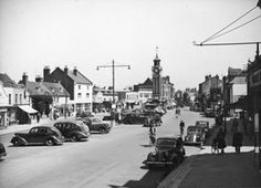Epsom High Street, 1950 Photographic Survey and Record of Surrey no. Epsom Derby, Derby Day, Old Street, Old London, Surrey, Old Photos, Childhood Memories, Landscape Photography, Nostalgia