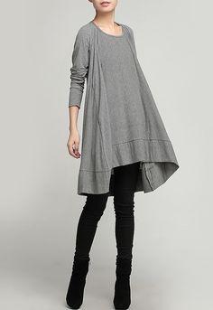 3-color  Loose fitting Maxi dress - Spring, Autumn  dress  Long sleeve Cotton dress Linen dress for Women C245