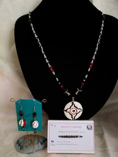 Crystal necklace with air dry clay pendant. Crystal and air dry clay beads earrings.