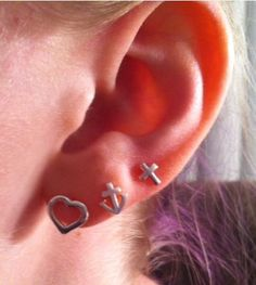 Faith, Hope and Love, triple lobe piercing