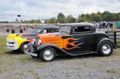 Pair of flamed rods - a '32 Ford and '49 Plymouth