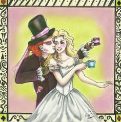 The Mad Hatter, aka Tarrant Hightopp and Alice Kingsley from Tim Burtons' version of Alice in Wonderland. Description from deviantart.com. I searched for this on bing.com/images