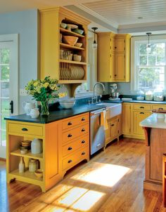 Eco-friendly milk paint on Shaker-inspired cabinets - Yellow Kitchen