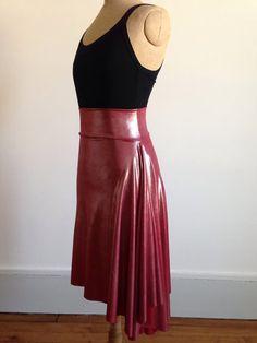 Beautiful asymmetric tango skirt metalic burgundy by BellaTango