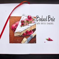 Baked Brie with roasted cranberries   7/8 #lk_sketchflashmob @art_markers, #art_markers, #copic, #copicmarker, #copicart, #leuchtturm1917, #sketch, #sketchbook, #illustration, #creative, #cheese, #brie, #cranberries