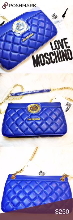 "LOVE MOSCHINO - quilted blue purse NWT. Brand new, plastic protected. Dress up your outfit with this beautiful purse! Style# JC4010 when unzipped reveals 2 open compartments, 1 small zippered compartment and 6 card pockets. The shoulder strap chain drops 19"" and is removable. Purse measures 9.5"" wide (left to right) // 6"" in height (top to bottom) // bottom expands to 2 1/4"" //side width expands 2"". Gold metal details. Comes with ""LOVE MOSCHINO"" dust bag as pictured.   Has plenty of room for…"