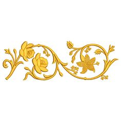Flower Embroidery Designs, Gold Embroidery, Machine Embroidery Designs, Embroidery Patterns, Violin Art, Patch Design, Gold Work, Scroll Design, Border Design