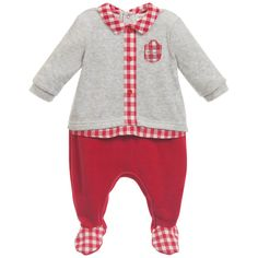 Tutto Piccolo Grey And Red Check Babygrow at Childrensalon.com