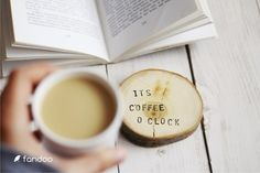 "Ornaments – Wooden pad ""It's coffee o clock"" (2pcs) – a unique product by fandoo via en.DaWanda.com"