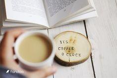 """Ornaments – Wooden pad """"It's coffee o clock"""" (2pcs) – a unique product by fandoo via en.DaWanda.com"""