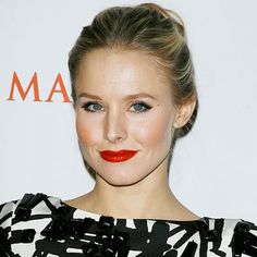 """Find Your Perfect Red Lipstick: Got blond hair and fair skin like #KristenBell?  """"Go for a true red,"""" says makeup artist Fiona Stiles. """"It's got just the teeniest bit of blue in it. That hint of coolness will help downplay any ruddiness in your skin."""" http://www.instyle.com/instyle/package/general/photos/0,,20337040_20319008_20703115,00.html"""
