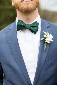 Preppy groom outfit idea - blue suit with green flamingo bow tie {Jessica Hunt Photography} Blue Suit Wedding, Wedding Suits, Wedding Attire, Groom And Groomsmen Attire, Groom Outfit, Wedding Gallery, Wedding Photos, Bow Tie Suit, Bow Ties