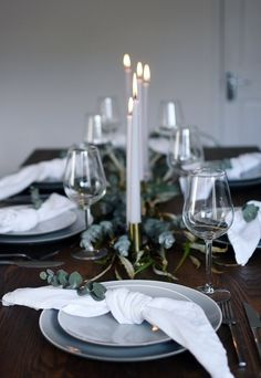 Simple Christmas Table Styling Simple Christmas Table Styling A Simple And Elegant Christmas Table With A Grey White And Green Colour Palette Flickering Candlelight And Lots Of Natural Foliage Simple Christmas Table Styling These Four Walls