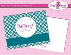 Blank Postcard  Teal Mod Dot  CAGS Approved by InfinitelyMore, $2.50