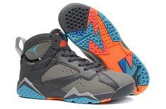 promo code b376a fa68a Air Jordan 7 Girls Barcelona Days Dark Grey Wolf Grey Total Orange  Turquoise Blue Michael Jordan