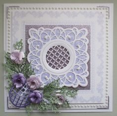 Card made using Sue Wilson's Sydney die.  The flowers are my Gardenia Roses.