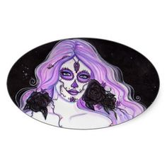 Nita Day of the dead oval stickers by Renee Lavoie