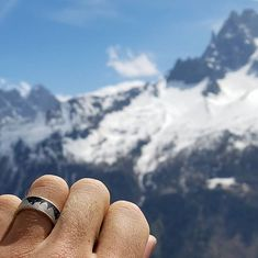 Wear a slice of the stars with this mountain Cool Wedding Rings, Unique Wedding Bands, Wedding Jewelry, Space Mountain, Bones, Rings For Men, Take That, Engagement Rings, Stars