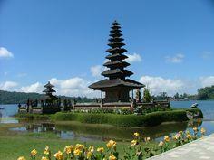 Part of the Ulun Danu Temple complex at Lake Bratan in Bedugul (Bali). Note the eleven-tiered meru.