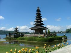 Part of the Ulun Danu Temple complex at Lake Bratan in Bedugul (Bali). Note the eleven-tiered meru.