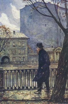 Dostoievski  Walking (1930) by  Russian painter Ilya Glazunov