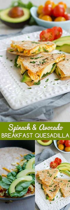 Kick off your day with a Spinach Avocado Breakfast Quesadilla. High on protein and filled with flavor! 238 calories and 7 Weight Watchers SmartPoints