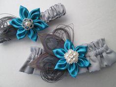 Silver Wedding Garter Set Gray Bridal Satin by GibsonGirlGarters, $44.00