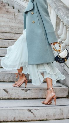Powder blue + rose gold heels.