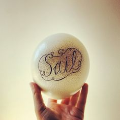 Hand Lettering, Hand Lettered Scrimshaw Ostrich Egg, Personalized Fathers Gifts, Personalized Wedding Gift, Typogrophy, Nautical Baby Shower