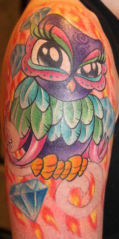 by: kristeloreto.com Girly Tattoos, Pretty Tattoos, Beautiful Tattoos, Amazing Tattoos, Animal Tattoos, Owl Tattoos, Chest Piece, Friend Tattoos, Tattoo You