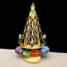Christmas Tree Pin Vintage Rhinestones Enamel Xmas Brooch Gifts Warner | eBay
