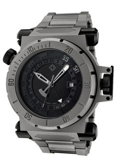 Invicta Men's Coalition Force GMT Black Dial Grey Titanium- An exceptional time piece. - mens gold watch black face, mens fashion watches, mens digital watches *ad