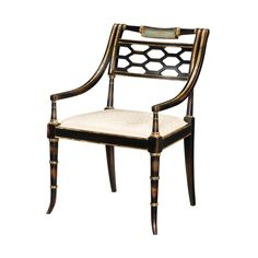 Regency Style Black and Gold Armchair, Set of 2 – English Georgian America
