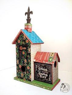 Beautiful altered birdhouse from Diane's workshop! #graphic45 #alteredart