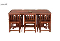 Buy Cohoon 6 Seater Dining Set (Honey Finish) Online in India - Wooden Street