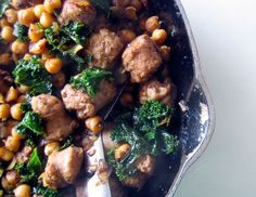 fried chickpeas with kale & sausage. Carb free.
