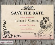 Victorian Save the Date  Wedding Announcement by pegsprints, $10.00