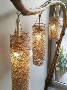 Easy and Cheap Lighting DIY ideas - handmade chandelier Diy Para A Casa, Diy Casa, Diy Crafts Hacks, Diy Home Crafts, Rope Crafts, Handmade Home Decor, Diy Home Decor, Handmade Lamps, Room Decor