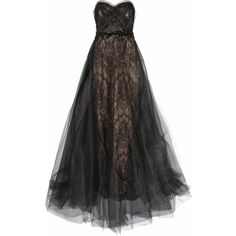 Marchesa Strapless tulle and lace gown ($2,275) ❤ liked on Polyvore featuring dresses, gowns, vestidos, long dresses, lace gown, long strapless dresses, lace dress, fitted dresses and strapless gown