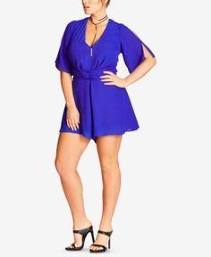 5e3bae2a530 City Chic Trendy Plus Size Twist-Front Romper - Blue 18W Cute Plus Size  Clothes