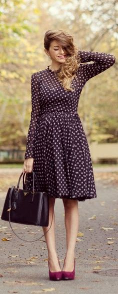 Abito A #Pois Per Un #Outfit Dal Sapore Retro' by Scent Of Obsession => Click to see what she wears