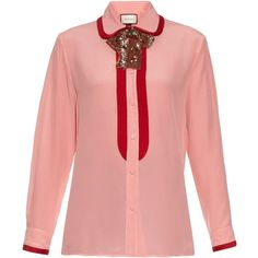 Gucci Sequin neck-bow silk crepe de Chine oxford shirt (5,210 SAR) ❤ liked on Polyvore featuring tops, blouses, gucci, pink multi, pink oxford shirt, red silk top, red sequin top, sequined tops and pink sequin top