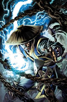 Art sighting 2 Mortal Kombat - Raiden by Ivan Reis, colours by Rod Reis. This art sighting is of Raiden a Mortal Kombat character. The lines and colors of him punching gives Raiden a effect of motion. Raiden De Mortal Kombat, Arte Kombat Mortal, Mortal Kombat Comics, Anime Comics, Dc Comics, Geeks, Marvel Dc, Claude Van Damme, Fanart