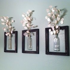 repurpose old picture frames and jars...love the idea of painting the inside of the jars (red? or 2 different bright colors?) and hanging in reading room, just waiting for fresh-cut flowers.